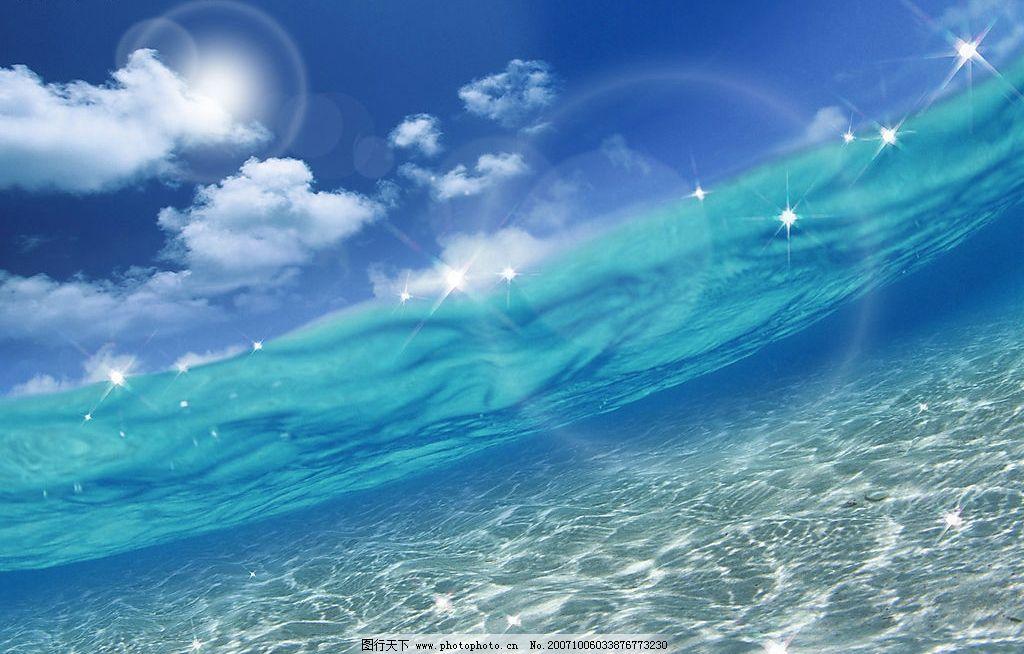 蓝天与海水图片