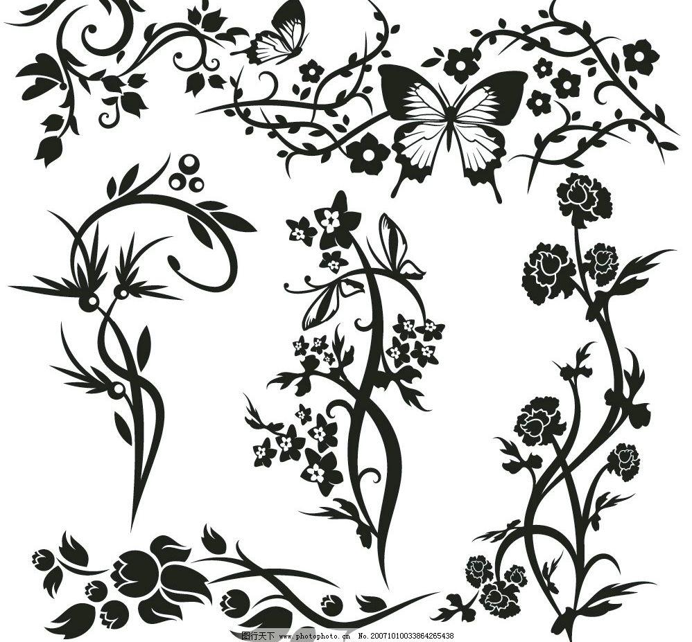 黑白花纹矢量图片
