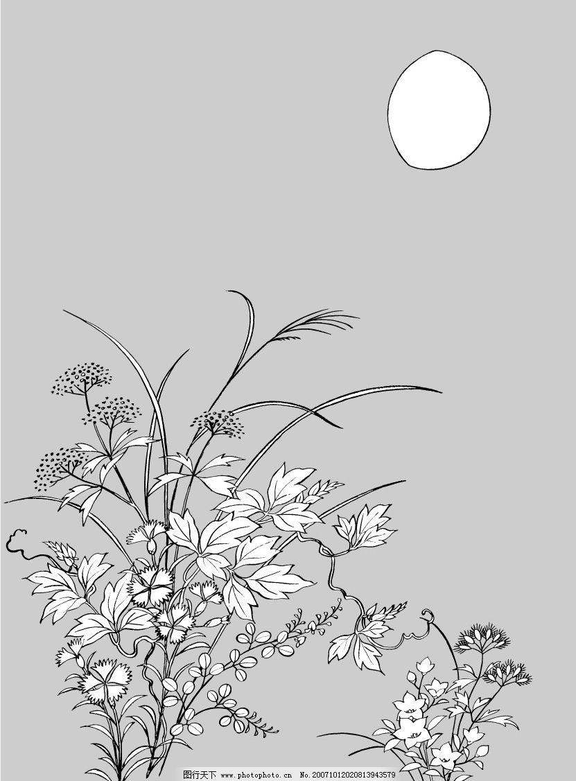 日本线描植物和花卉 底纹边框 其他 hgh2007矢量素材系列之日本线描