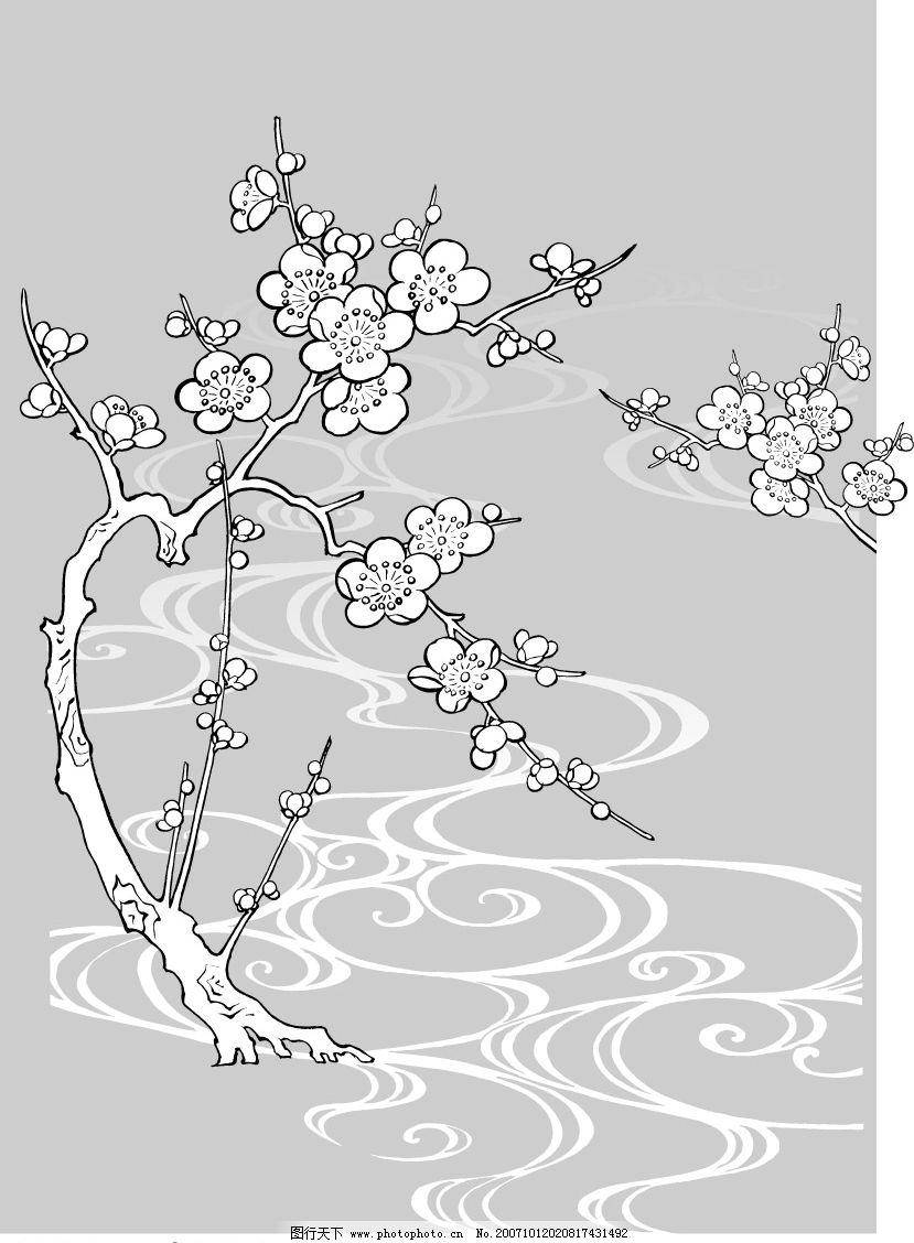 日本线描植物和花卉 底纹边框 其他 hgh-2007矢量素材系列之[日本线描