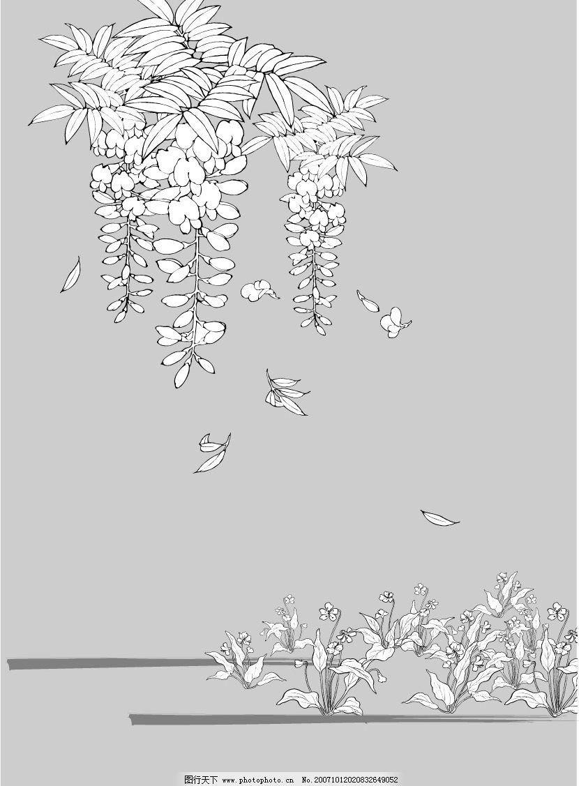 日本线描植物和花卉 底纹边框 其他 矢量图库