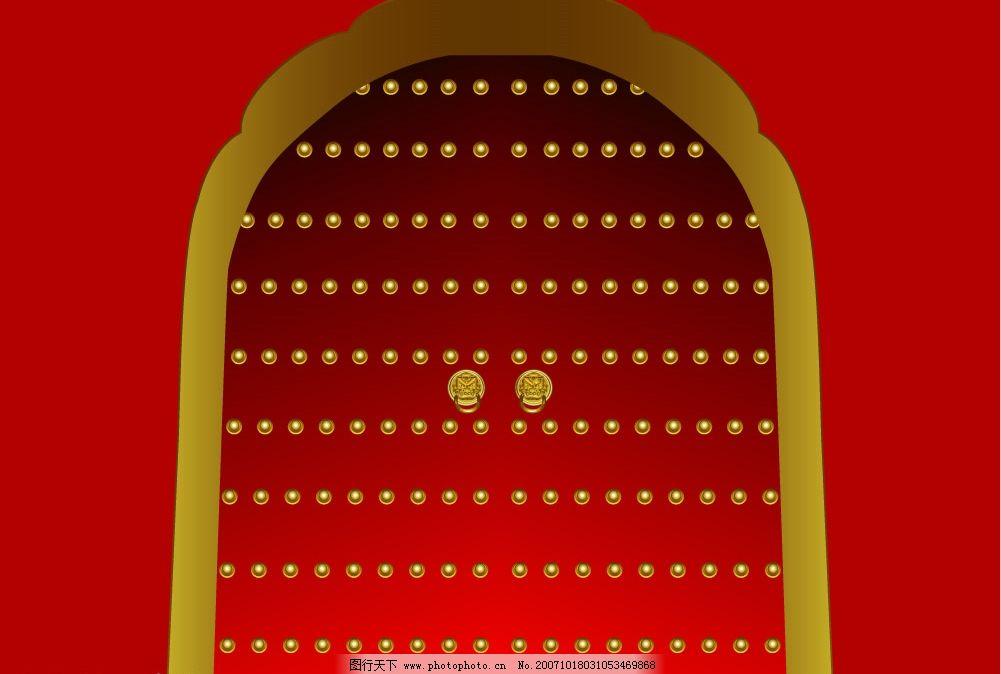 矢量古代大门 钉子门 平面设计 广告设计 和谐风采 设计作品   ai