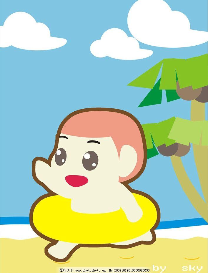 游泳去 q版 平面设计 手绘动漫 设计作品