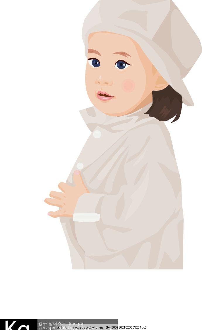 戴帽子的小女孩 儿童 女孩 矢量人物 儿童幼儿 儿童学生矢量 矢量图库