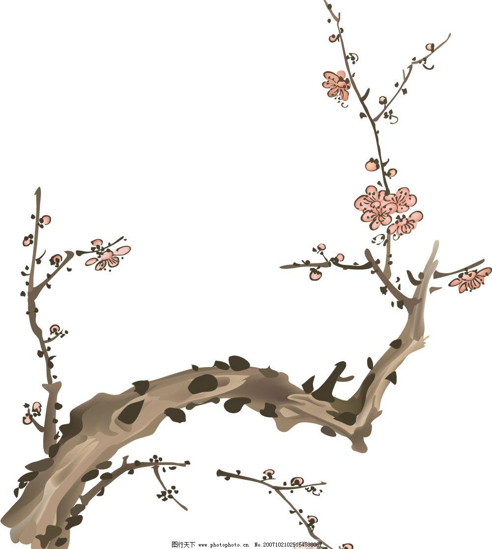 梅兰菊竹水墨画矢量图图片