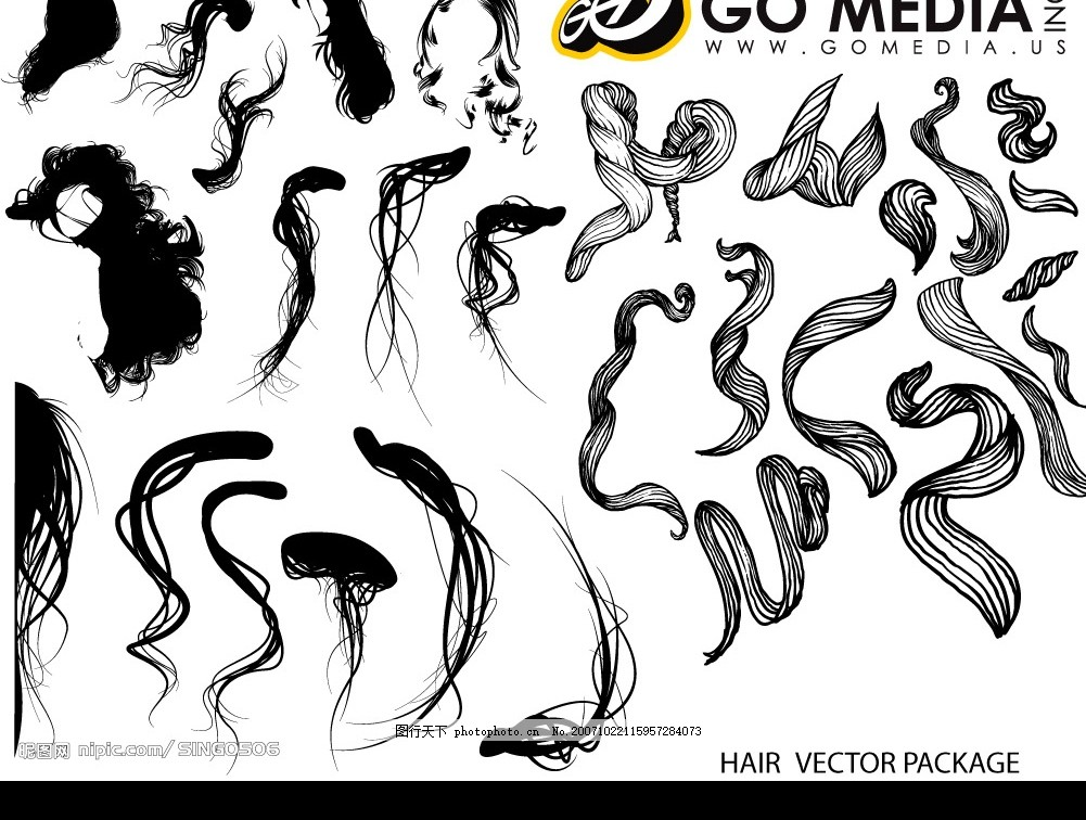 女性头发系列 失量 底纹边框 其他 矢量图库