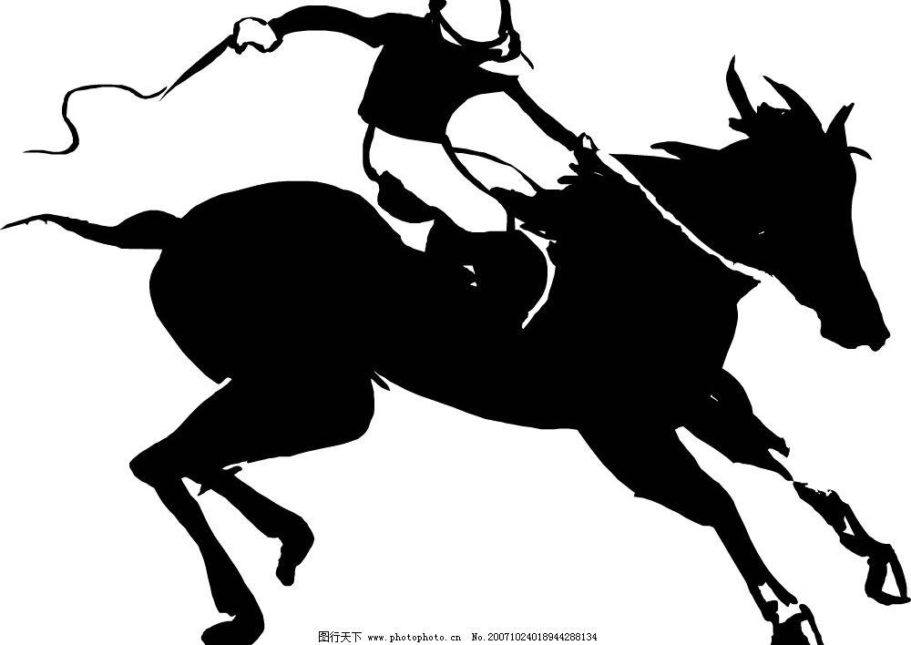 黑白骑马矢量图 骑马 文化艺术 体育运动 矢量图库   eps