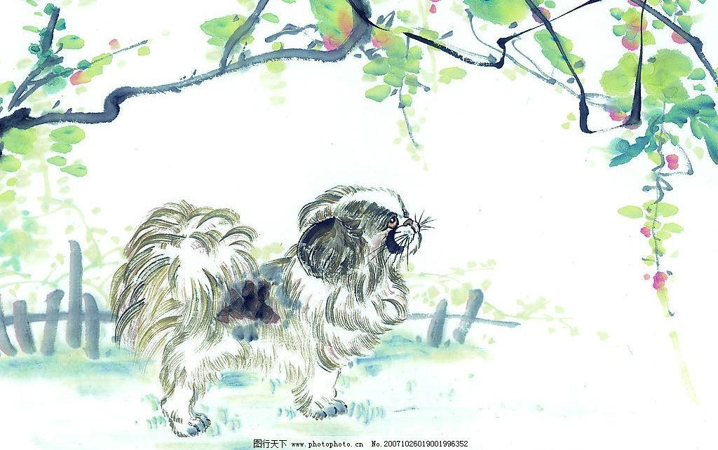 吉祥动物 生肖 国画 狗 美术绘画