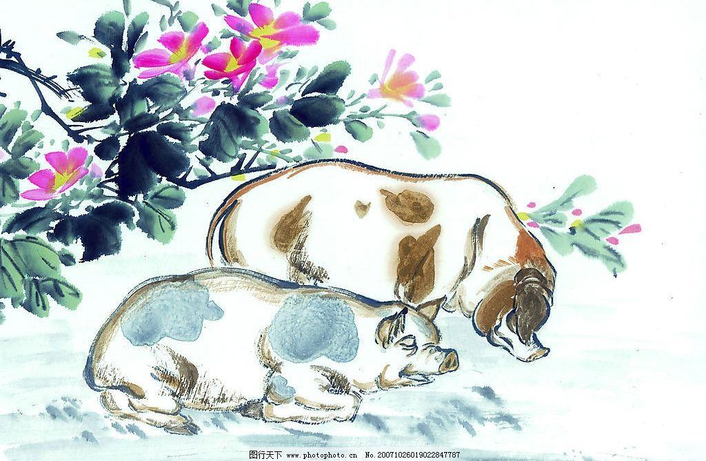 吉祥动物 生肖 国画 猪 美术绘画