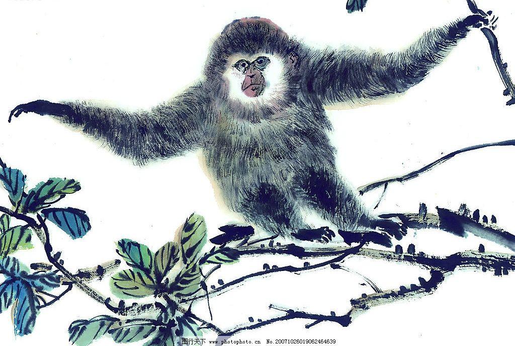吉祥动物 动物 生肖 国画 猴 文化艺术 美术绘画 中华吉祥图案---动物