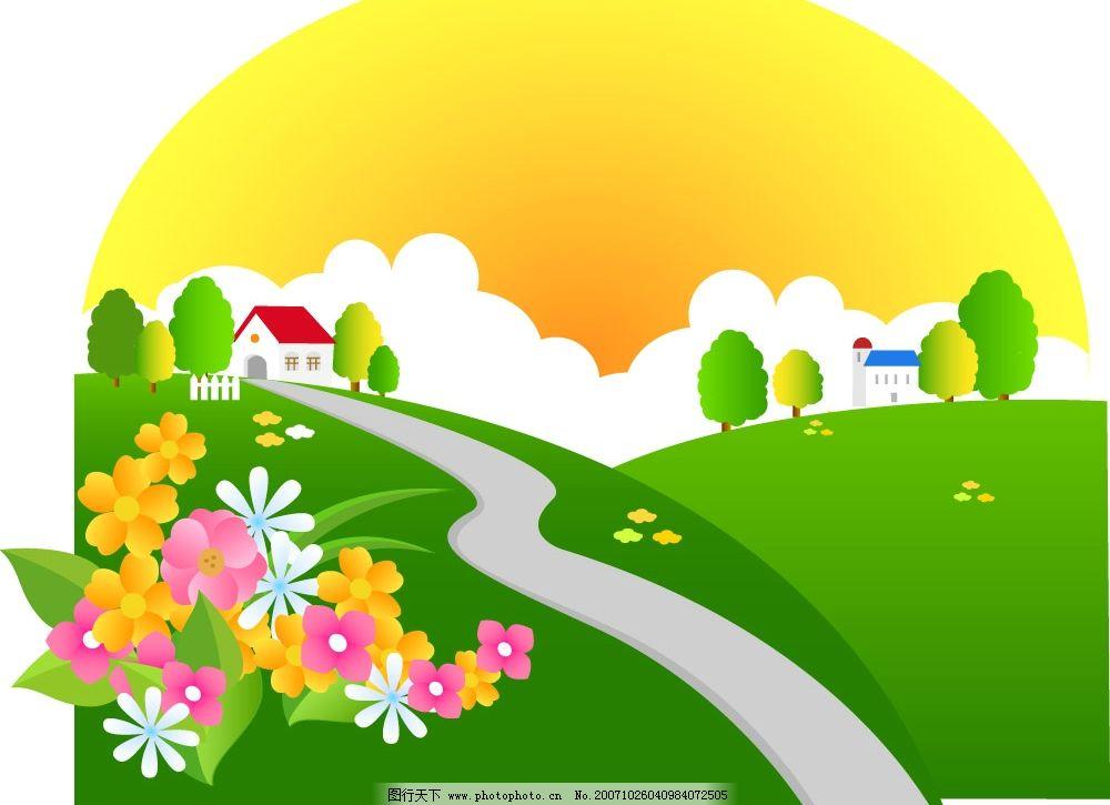 春夏秋矢量景色 春天 山野 自然景观 自然风景 树林 矢量图库   ai