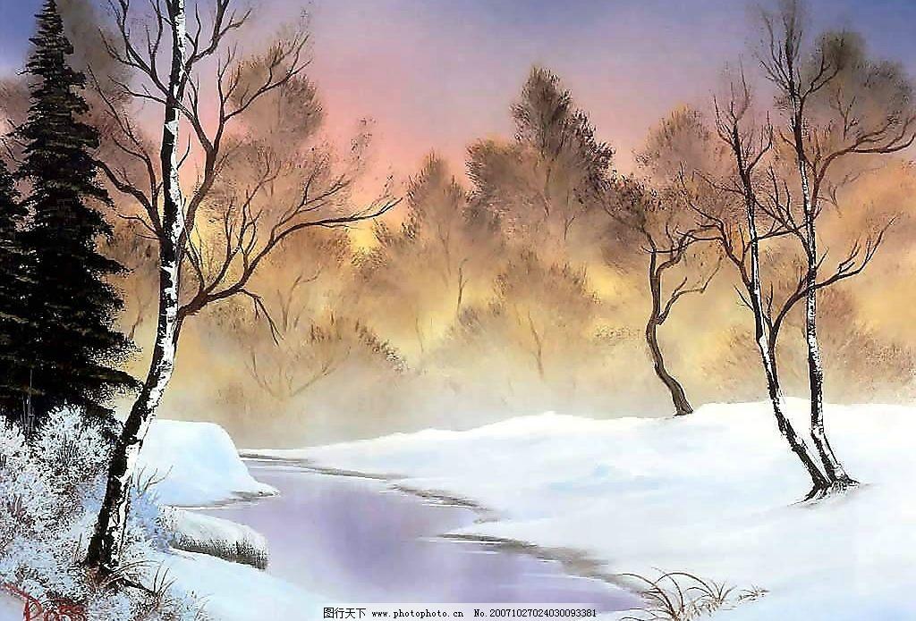 经典油画风景纸壁图片