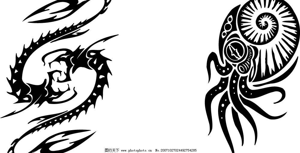 优美的水母蝎子线条矢量 生物世界 野生动物 矢量图库   ai