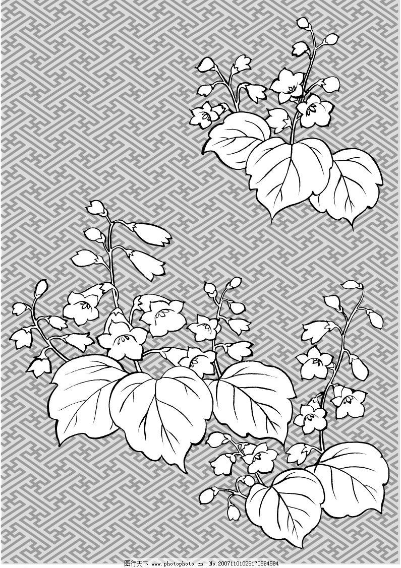 日本线稿花草图片图片