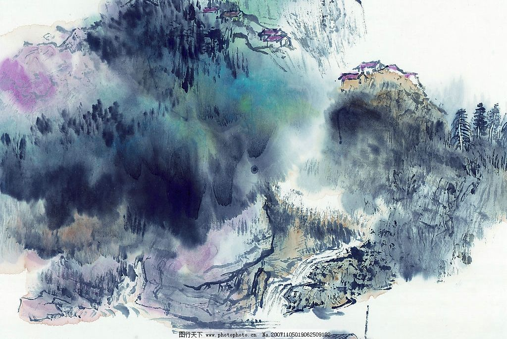 高清晰 山水 水墨画 自然景观 山水风景19图片