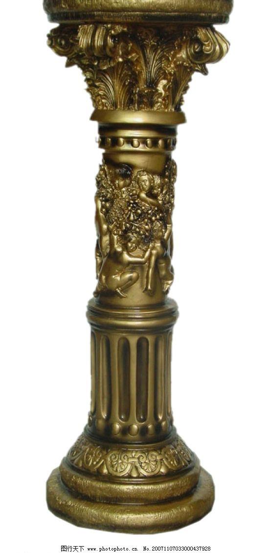 psd经典欧式铜色柱子图片