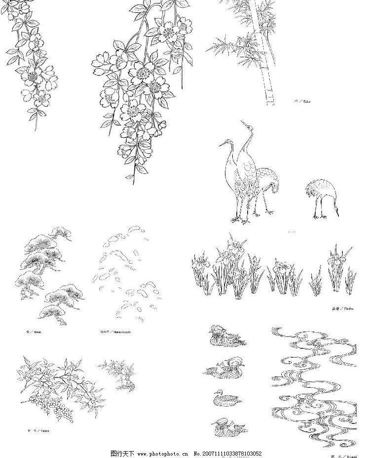 日本线描植物花卉矢量素材系列图片