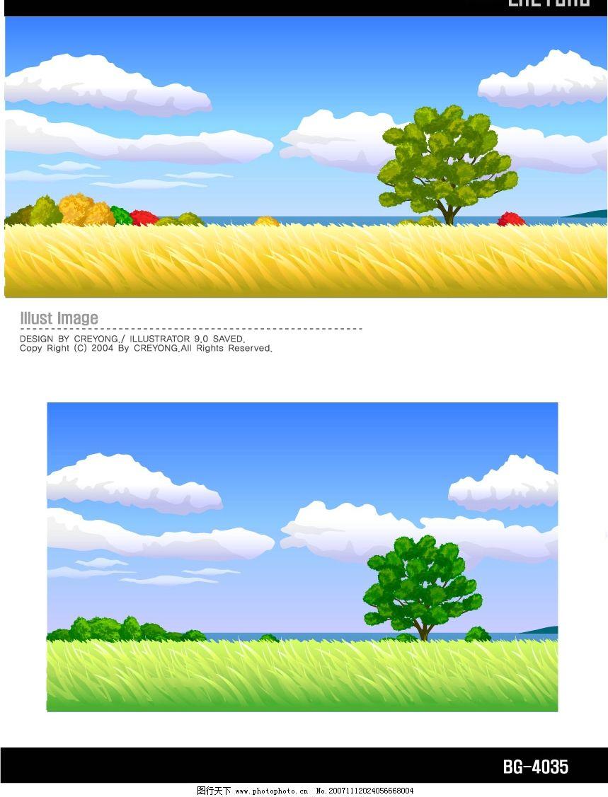 四季矢量风景图片