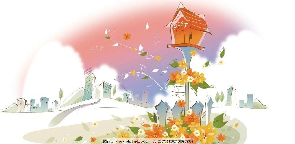 韩国矢量手绘风景插画9图片