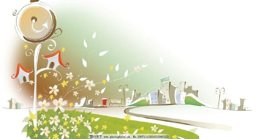 韩国矢量手绘风景插画13 风景 手绘 矢量 cdr 自然景观 其他 矢量图库