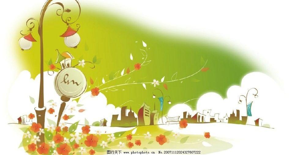 韩国矢量手绘风景插画11图片
