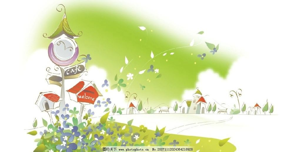 韩国矢量手绘风景插画3图片