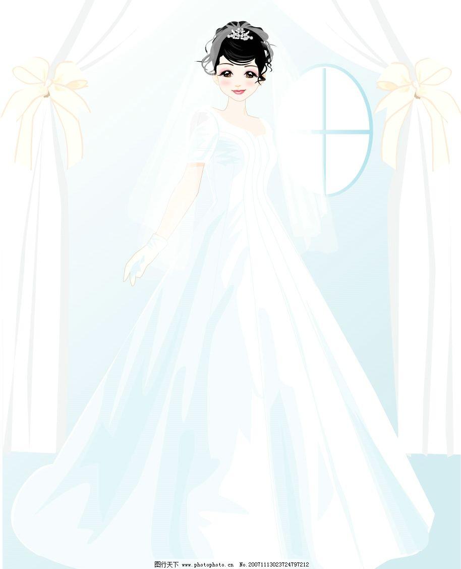 婚礼人物矢量图图片