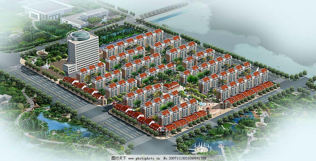 小区鸟瞰规划 建筑景观规划 广告设计 其他 古建筑外观设计及表现
