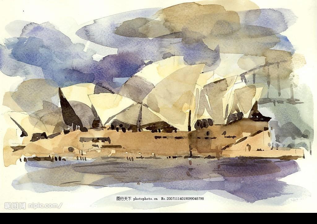 水彩-各国风景名胜篇057 水彩画 景点 建筑 地标 澳洲 雪梨