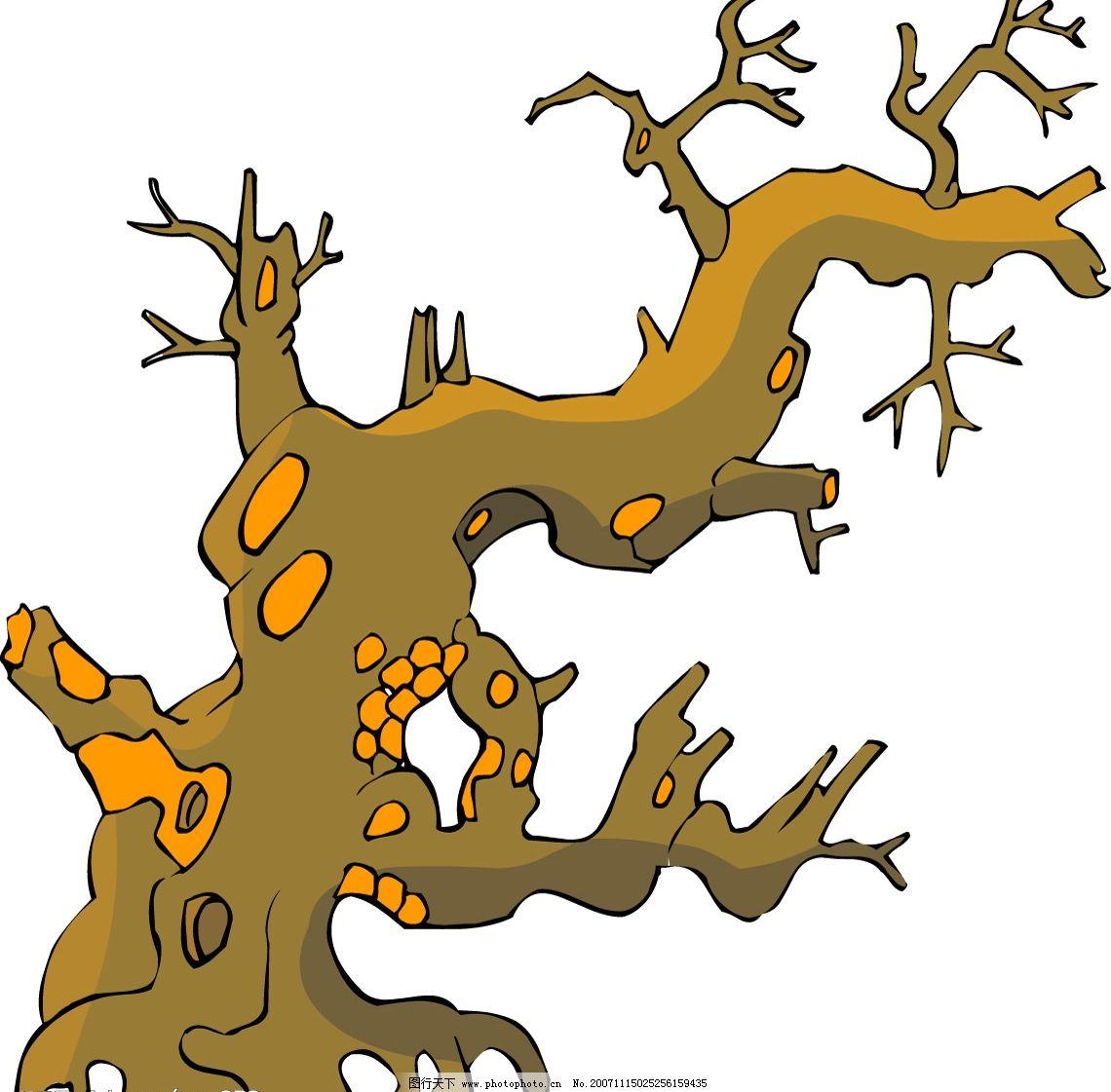 传统树木40 传统树木 生物世界 树木树叶 国画树木矢量素材之传统树一