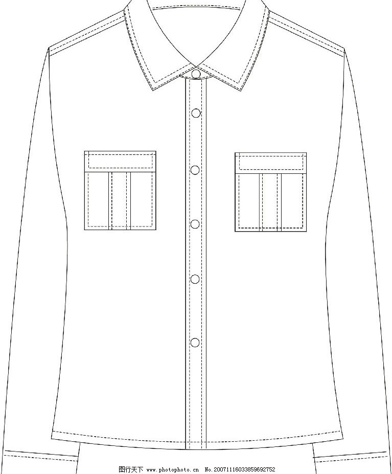 长袖衬衣 女装 款式图 其他设计 服装基本款式图 设计作品