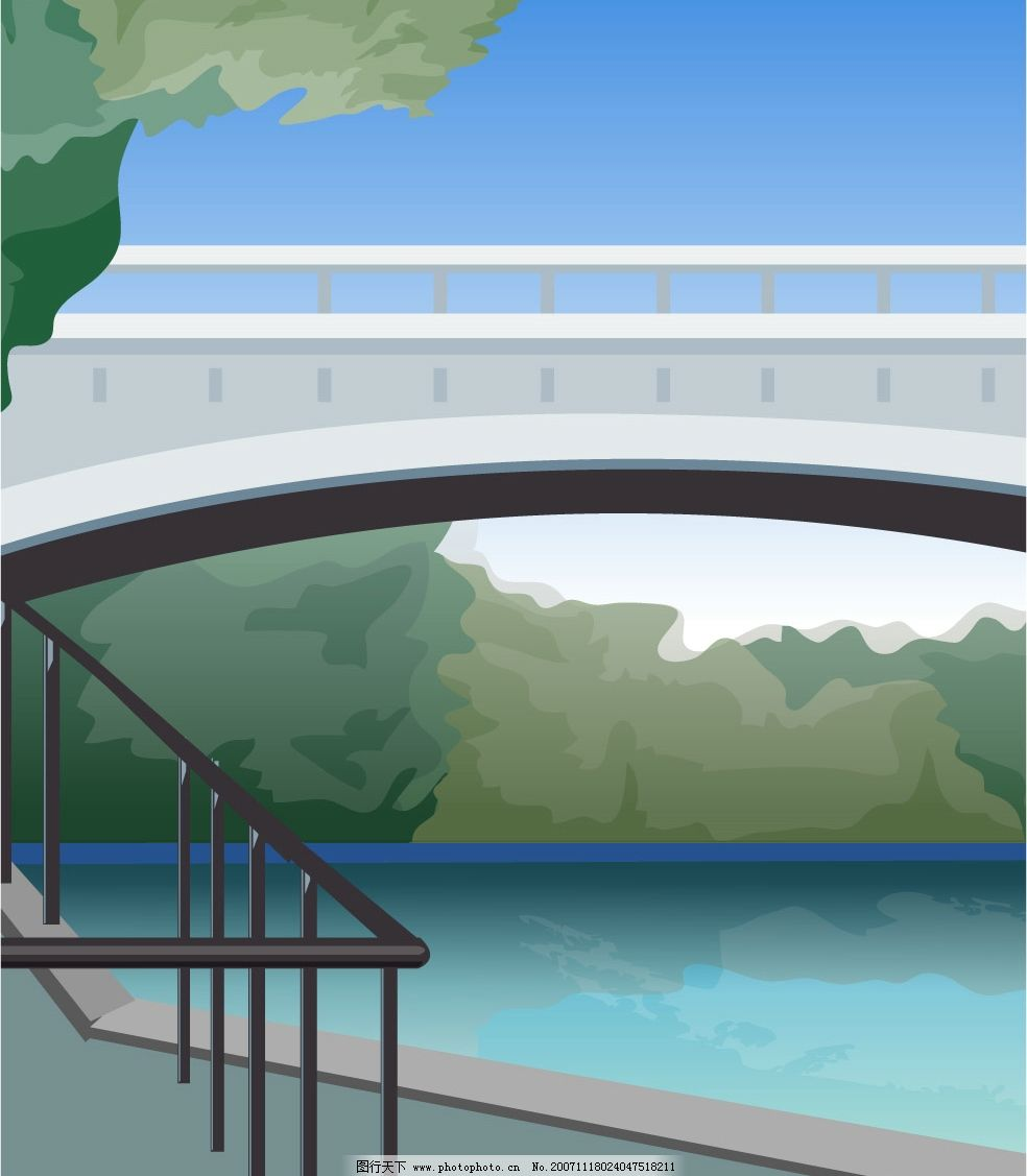 石拱桥 美图 矢量 家园 户外 风景 设计      平面 绘图 插画 美景