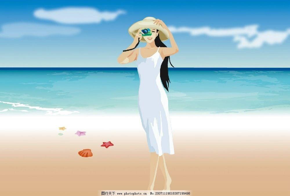 女孩2 女孩美女海滩夏日 动漫动画 动漫人物 设计图库   jpg