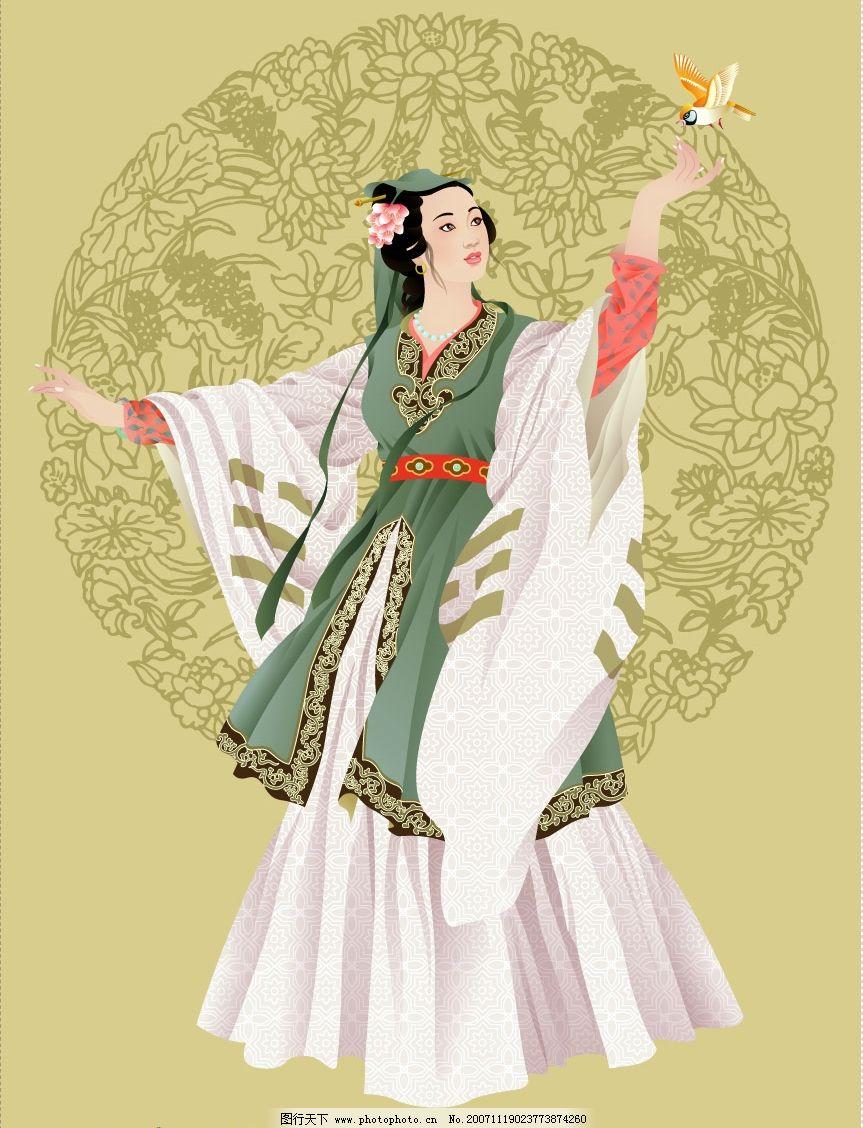 矢量古代美女 韩国插画 精品矢量 韩国人物插画矢量素材 矢量人物
