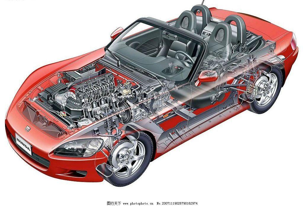 轿车解剖图 现代科技 交通工具 轿车结构透视图 设计图库 100 jpg
