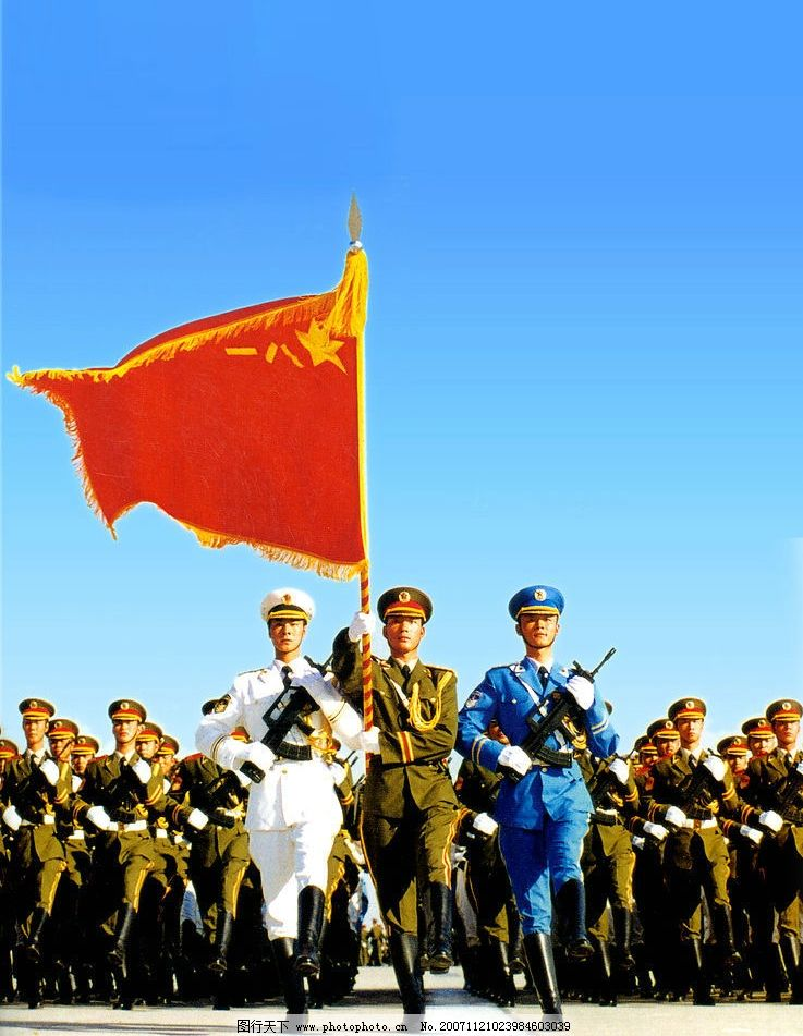 军人举旗简笔画