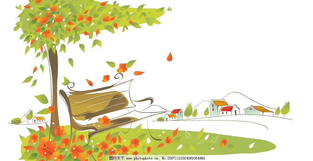 韩国矢量梦幻风景图 自然景观 自然风景 矢量图库   cdr