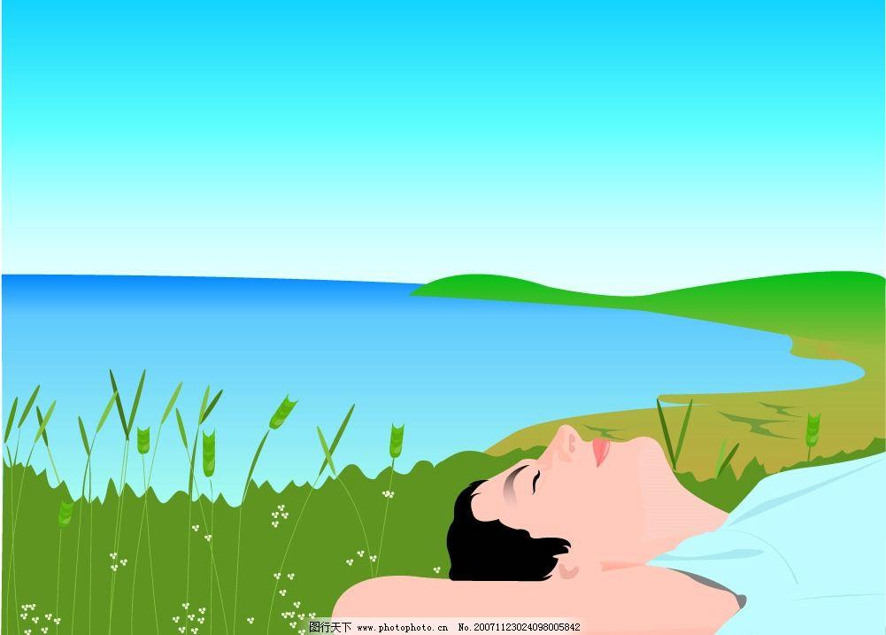 矢量 ai 风景 环境 清新 家园 美景 树木 水彩 美图 外界 户外 自然