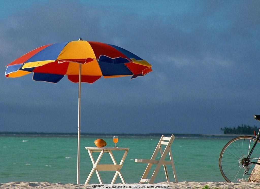 海边2 海 阳伞 沙滩椅 自然景观 自然风景 海边风景 摄影图库 350 jpg