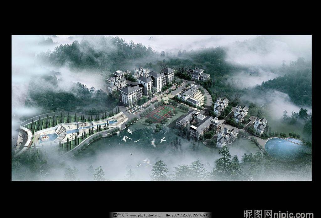 房地产园林设计效果图psd素材图片