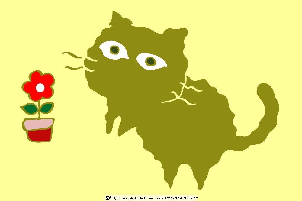 猫猫 猫 花 文化艺术 美术绘画 绘画 矢量图库   cdr