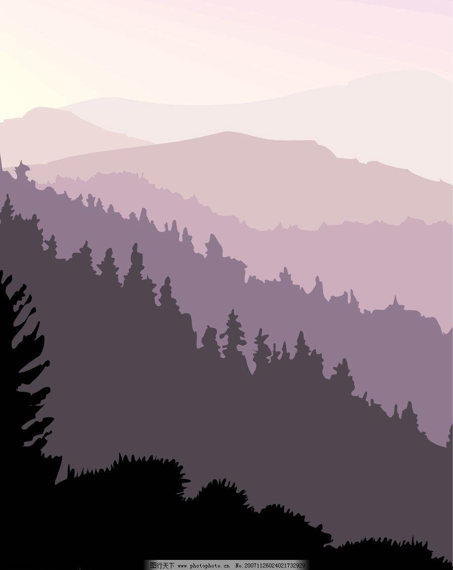 晨曦和夕阳风景图片