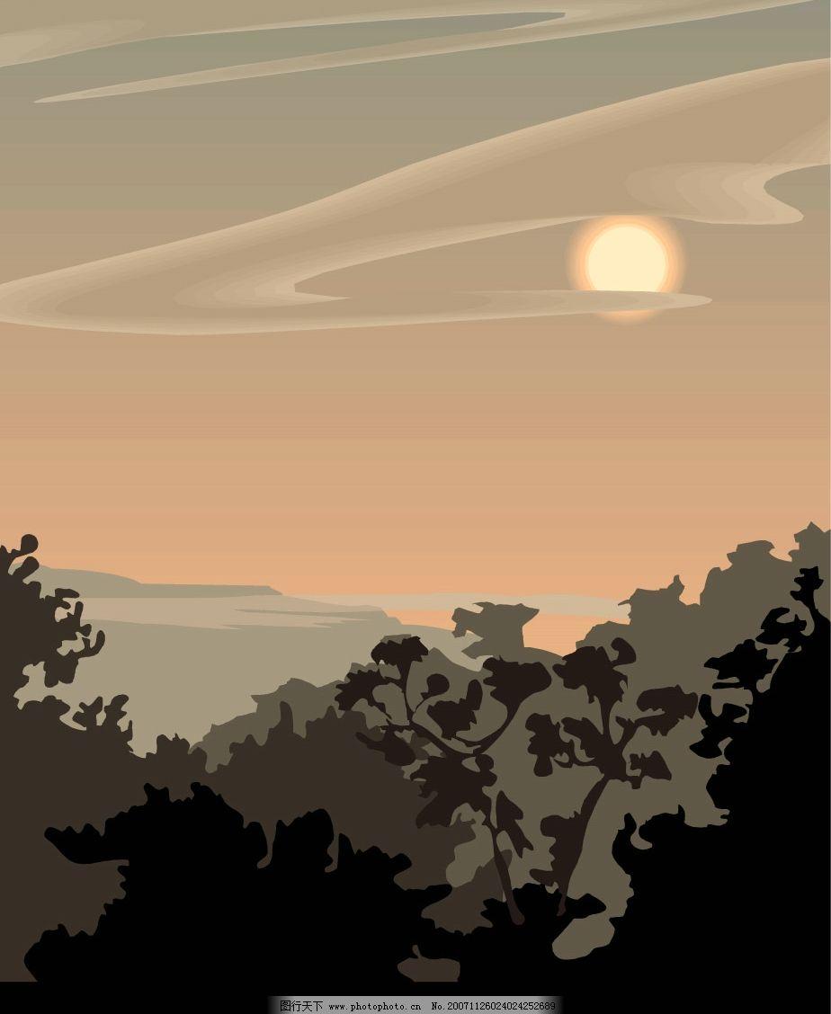 自然景观 自然风景 晨曦和夕阳风景矢量图 矢量图库   wmf