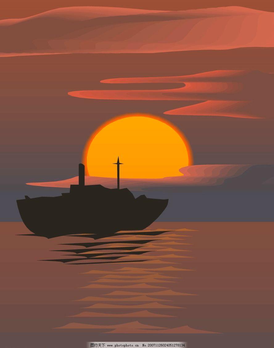 晨曦和夕阳风景矢量图图片