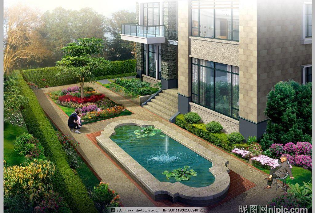 家庭庭院园林景观设计效果图 楼盘 住宅 小区 绿化 房地产设计效果图