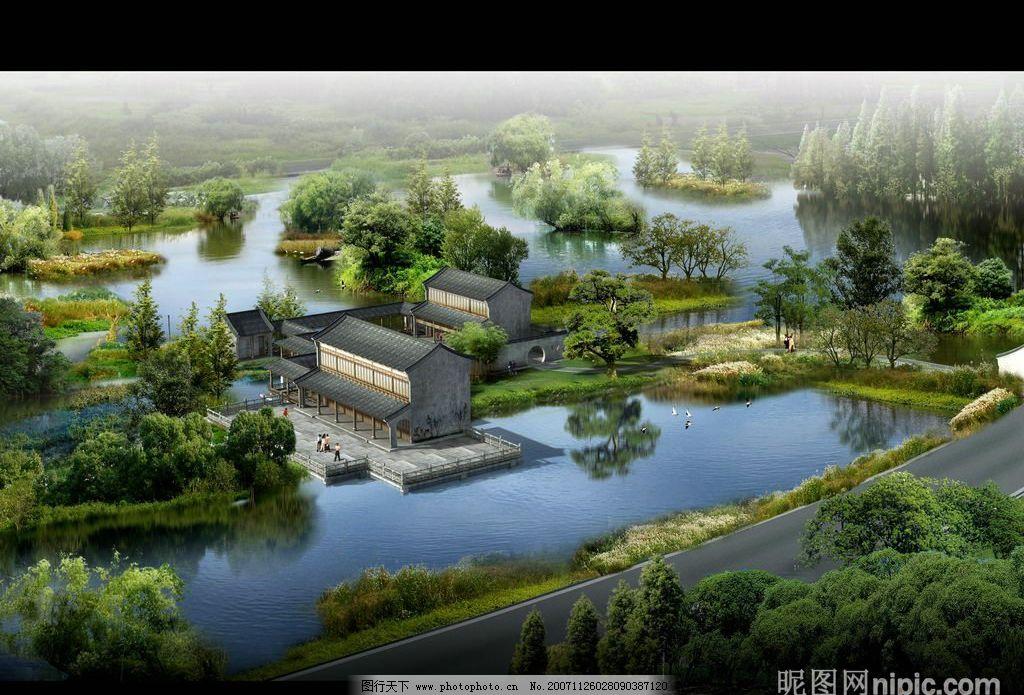 中国传统园林景观设计psd素材 楼盘 住宅 小区 绿化 房地产设计效果图