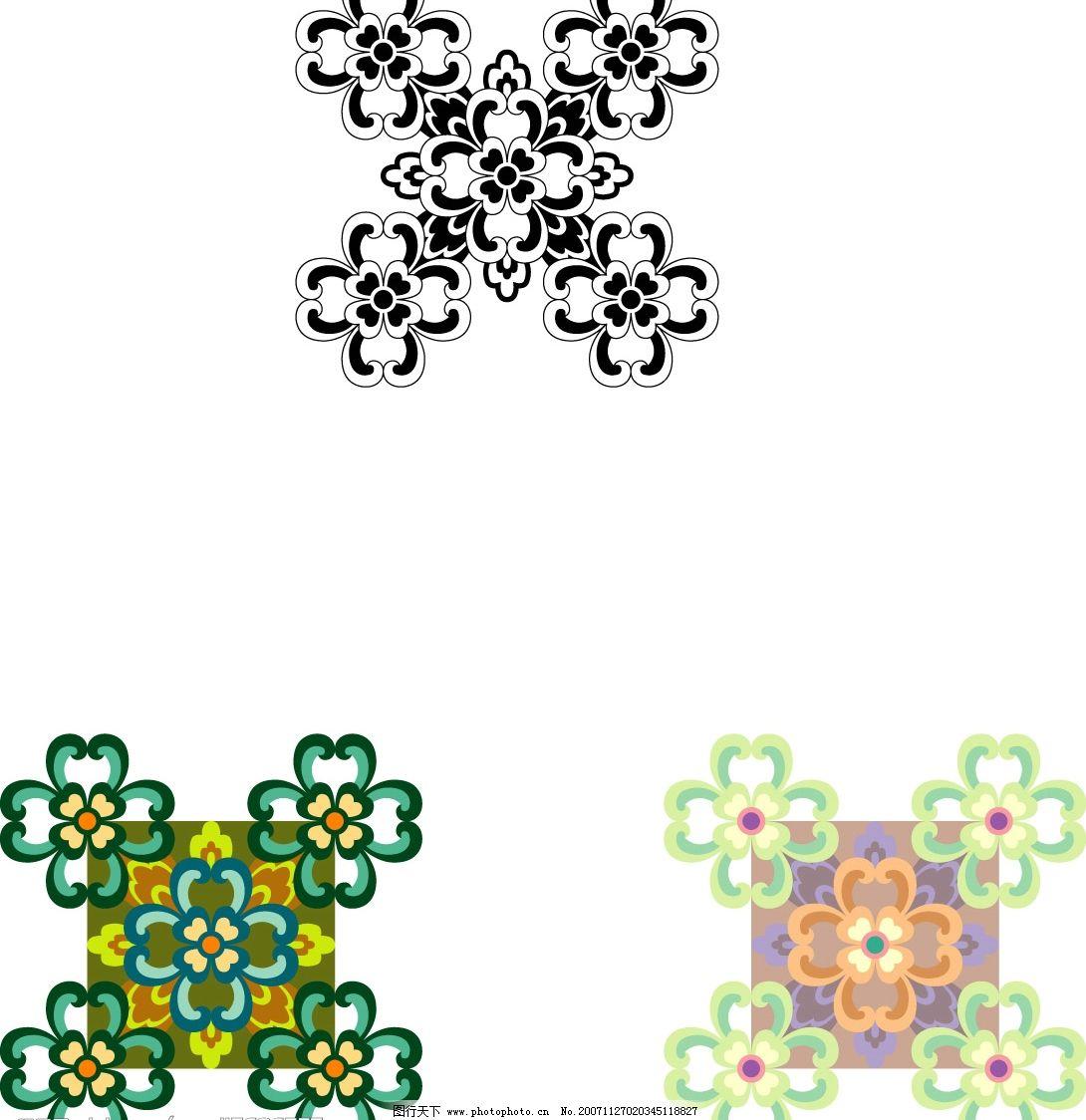 中国式花纹素材 矢量花朵 装饰花纹 矢量植物 底纹边框 花纹花边