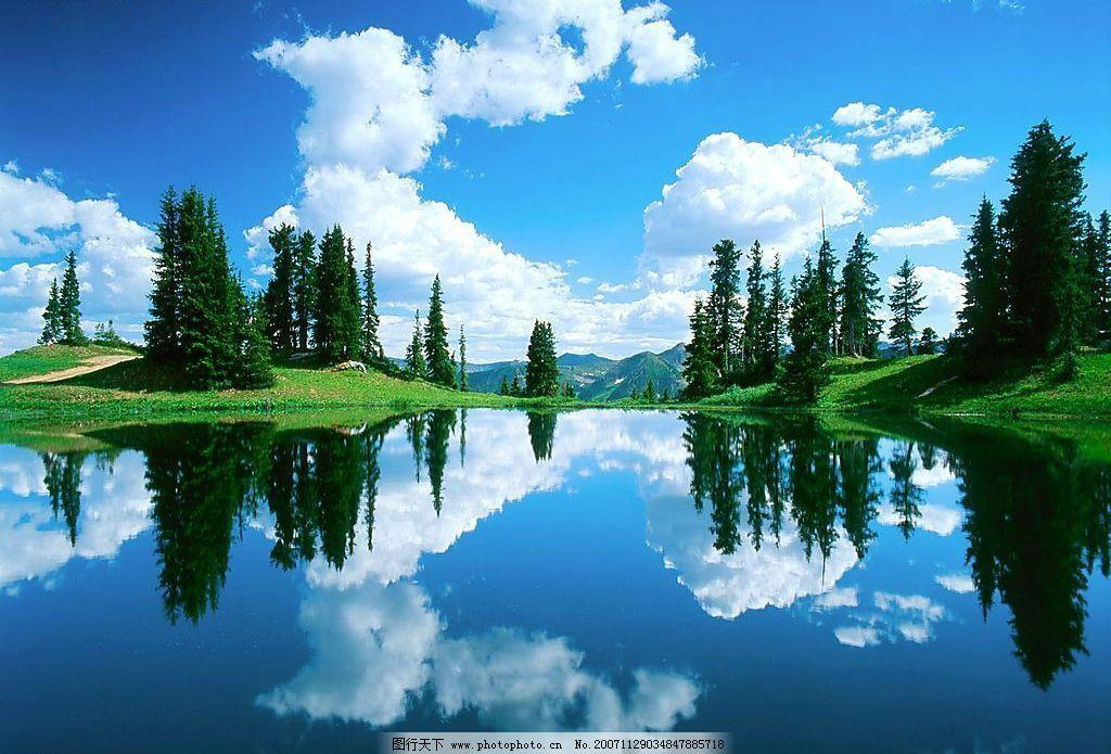 自然 森林 大树 树木 天空 蓝天 白云 云彩 水面 河流 湖水 倒影 自然
