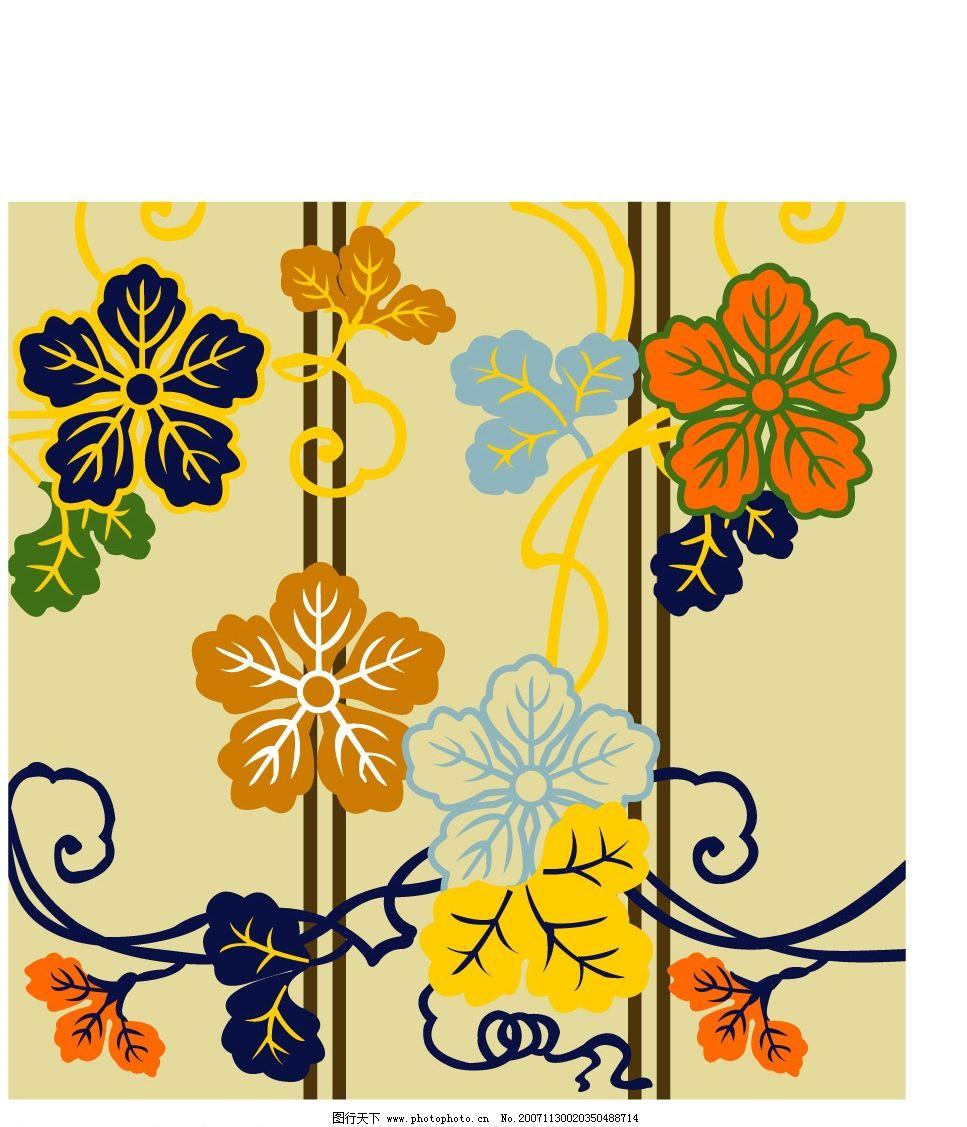 日本传统花卉植物图案矢量素材图片