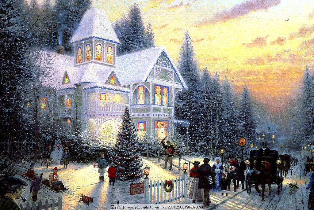 手绘圣诞雪景 文化艺术 绘画书法 设计图库 200 jpg